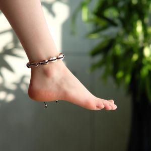 """Браслет на ногу """"Ракушки"""" глянец, цвет розовое золото на чёрной нити, L=11см"""