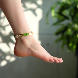 """Браслет на ногу """"Ракушки"""" с бусинами, цвет бело-салатовый, L=11см"""