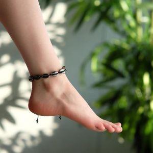 """Браслет на ногу """"Ракушки"""" глянец, цвет серый на чёрной нити, L=11см"""