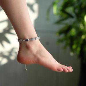 """Браслет на ногу """"Ракушки"""" глянец, цвет серебро на белой нити, L=11см"""