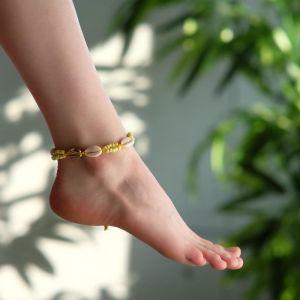 """Браслет на ногу """"Ракушки"""" с бусинами, цвет бело-жёлтый, L=11см"""