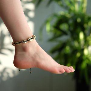 """Браслет на ногу """"Ракушки"""" глянец, цвет золото на чёрной нити, L=11см"""