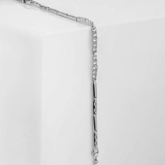 """Браслет со стразами """"Каркас"""" тонкие линии, цвет белый в серебре, 18 см"""