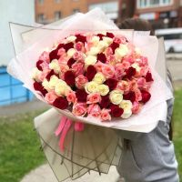 101 роза микс в красивой упаковке