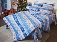 Постельное белье из фланели Норвежский узор синий,  ASHGABAD TEXTILE