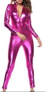 стрейчевый блестящий розовый комбинезон с доступом .размеры 40,42,44, модель 686