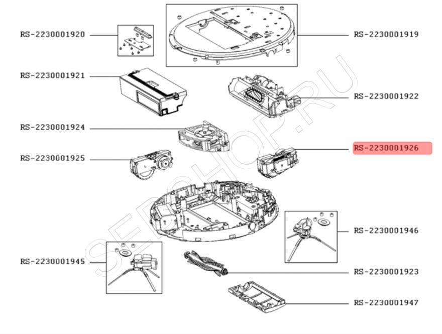 Правое колесо робота-пылесоса TEFAL в сборе с мотором моделей RG7447, RG7455. Артикул RS-2230001926