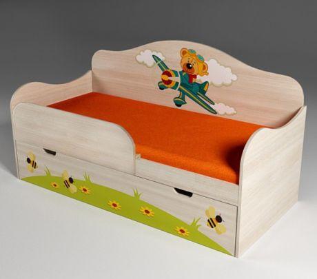 Кровать низкая для мальчиков Самолет 40008