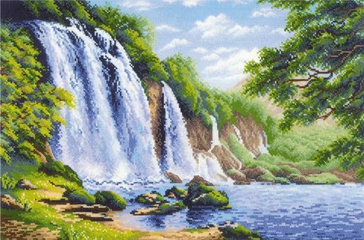 Набор для вышивания крестом Шум водопада №1908 фирма Риолис