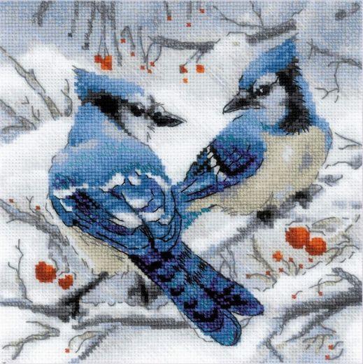 Набор для вышивания крестом Голубые сойки №1925 фирма Риолис
