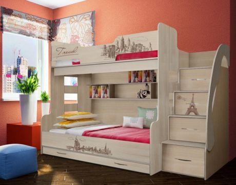 Кровать двухъярусная Фанки Тревел для троих детей