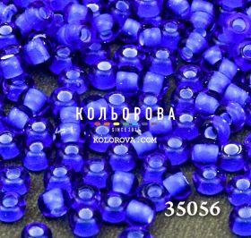 Бисер чешский 35056 голубой прозрачный белая линия внутри Preciosa 1 сорт