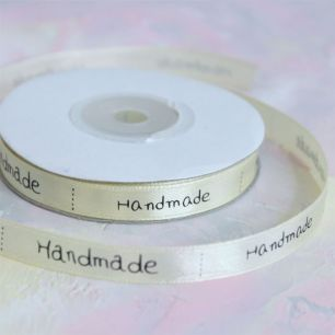 Лента декоративная атласная - Handmade / Хендмейд, 1 см