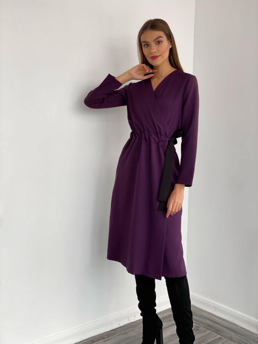 """3624 Платье с запахом и контрастным поясом в цвете """"вино"""""""