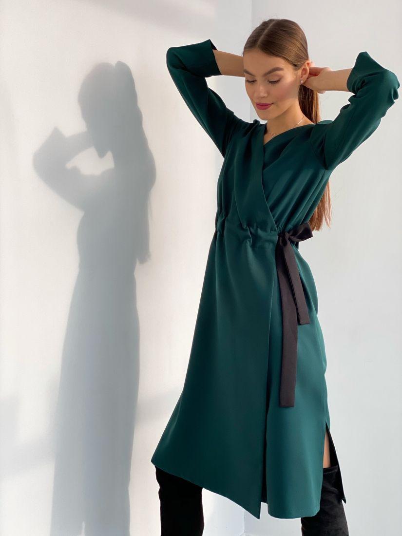 """s3625 Платье с запахом и контрастным поясом в цвете """"изумруд"""""""
