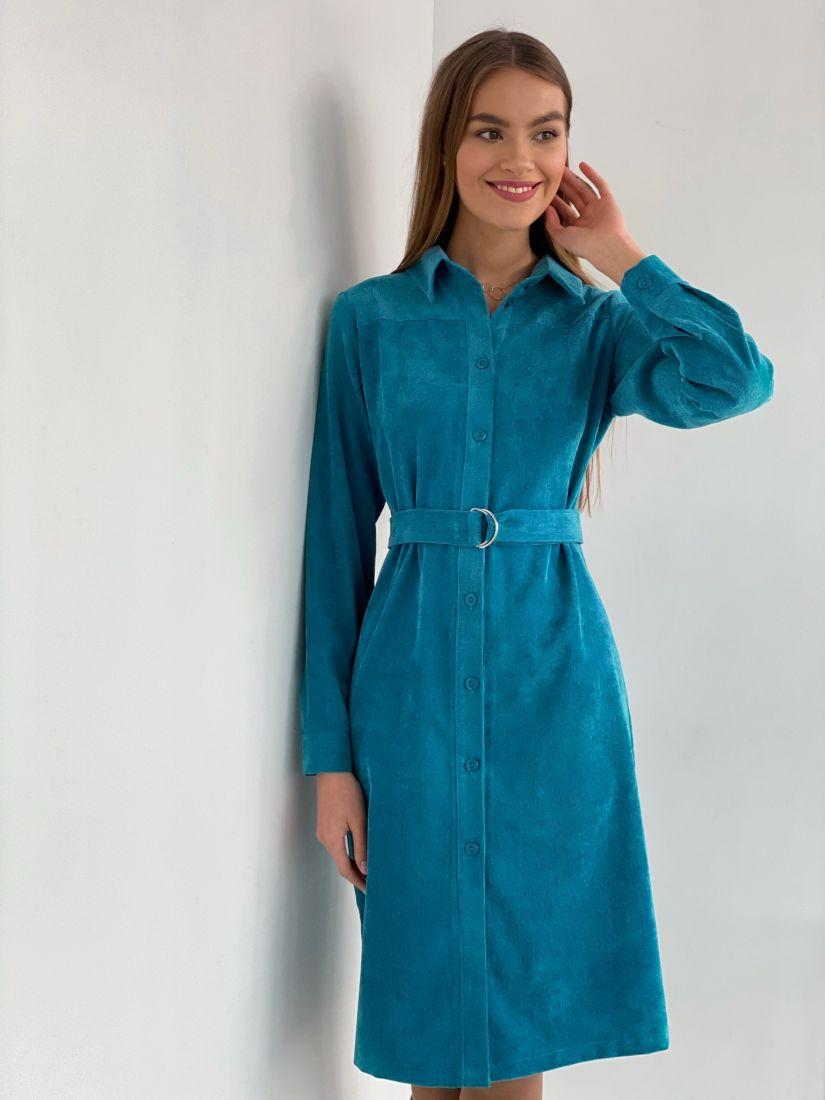 """s3628 Платье-рубашка из хлопкового вельвета в цвете """"тиффани"""""""
