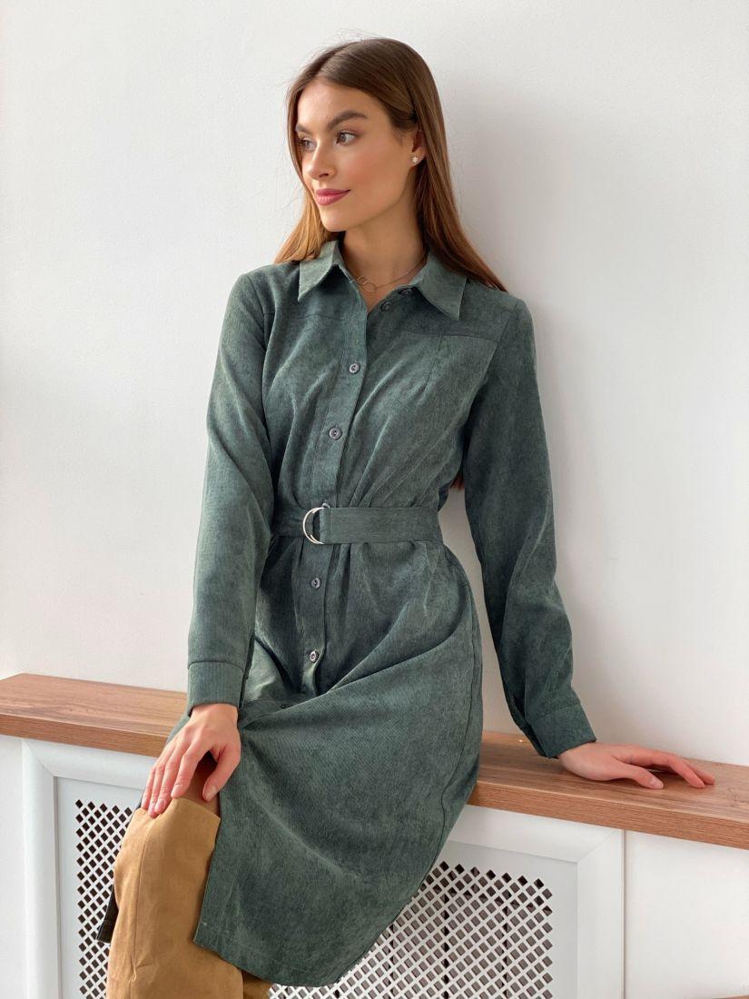 s3630 Платье-рубашка из хлопкового вельвета зелёное