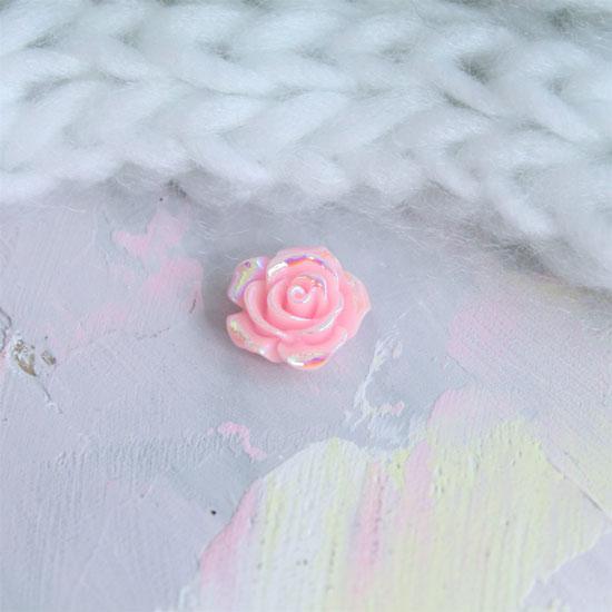 Кукольная миниатюра - Кабошон Роза розовая с перламутром, 1.5 см