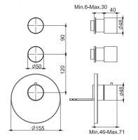 Смеситель для ванны/душа Fima - carlo frattini Spillo steel F3083X2