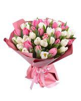 Букет тюльпанов бело-розовый микс