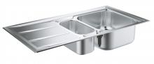Кухонная мойка из нержавеющей стали с корзинчатым вентилем, оборачиваемая, 1,5 чаши, Grohe K400+ 31569 SD0 (31569SD0)