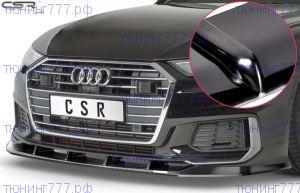 Сплиттер переднего бампера, CSR, черный глянец