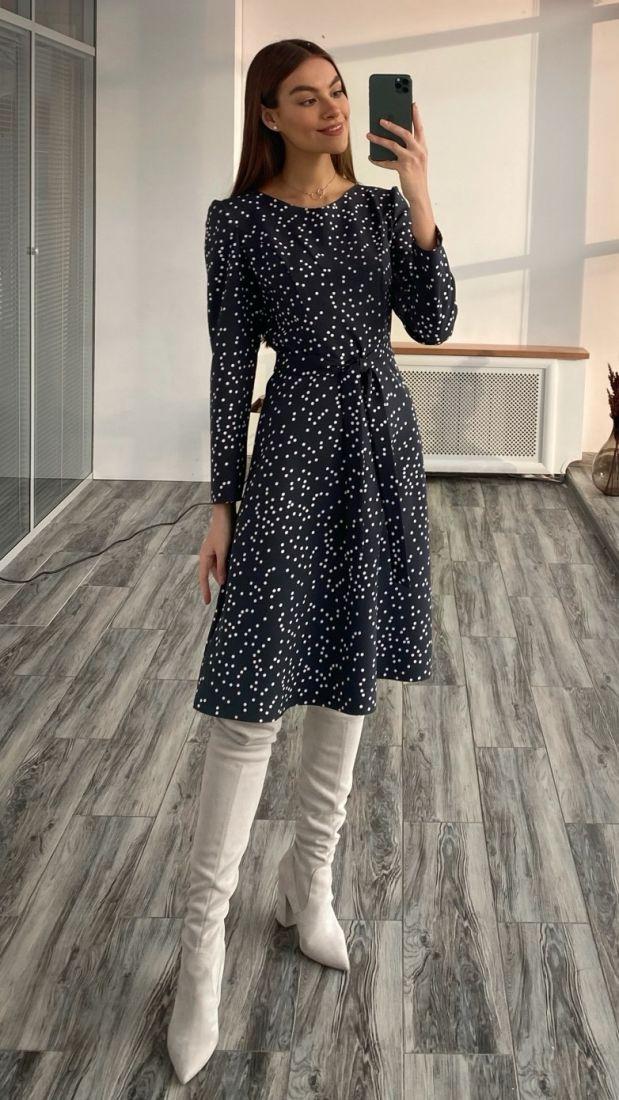 """s3652 Платье с рельефами в горох в цвете """"графит"""""""