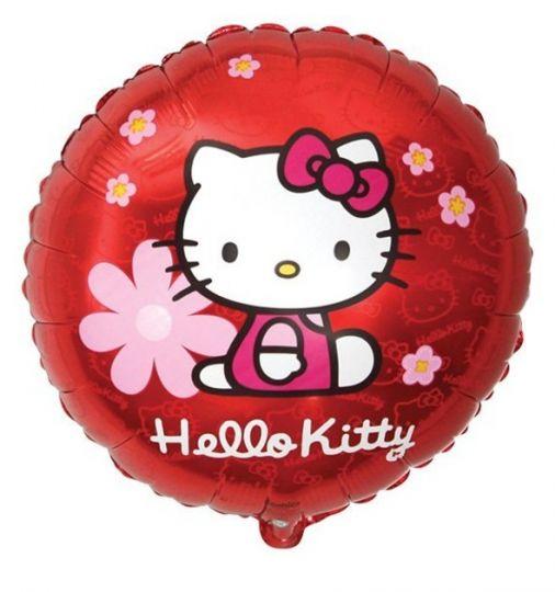 Китти красный с цветочками круглый шар фольгированный с гелием