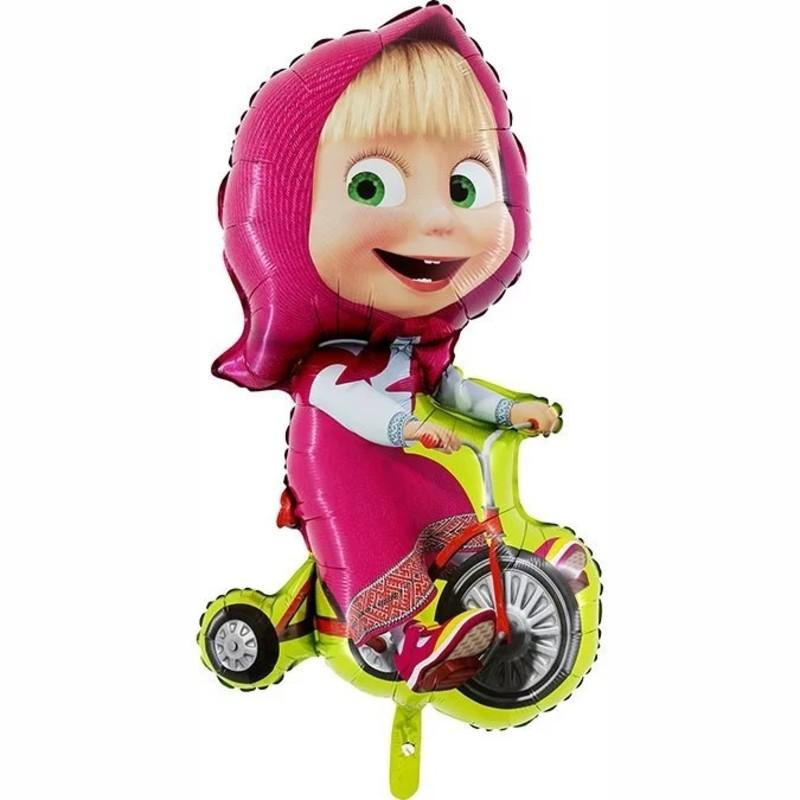 Маша на велосипеде фигурный шар фольгированный с гелием