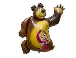 Медведь с Машей фигурный шар фольгированный с гелием