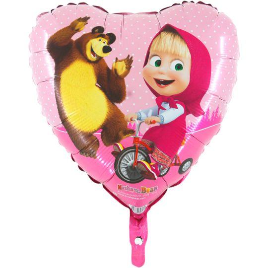 Маша и Медведь сердечко шар фольгированный с гелием