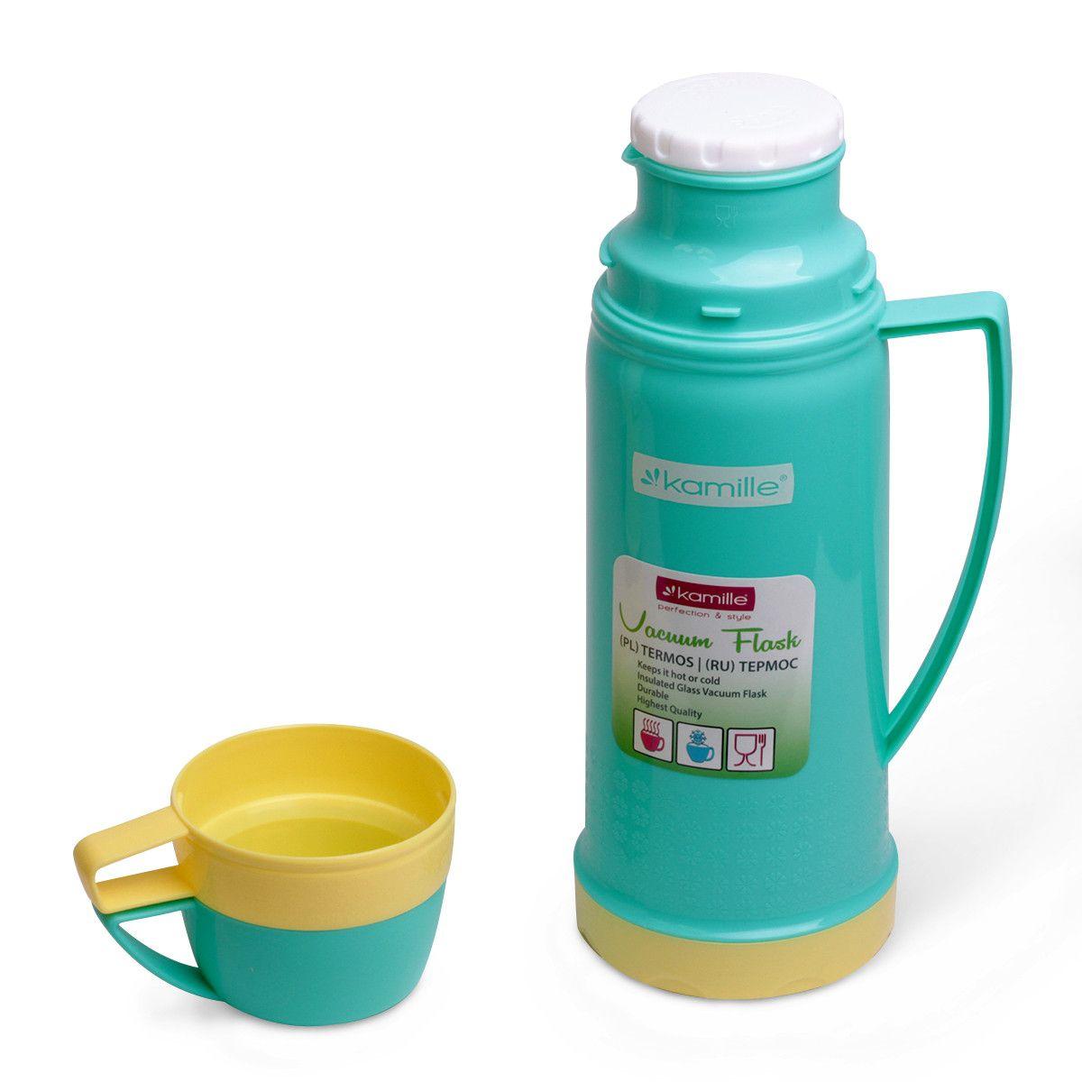 Термос 450мл пластиковый со стеклянной колбой (2 чашки; голубой) Kamille