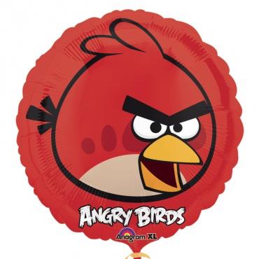 Красная птица круглый шар фольгированный с гелием