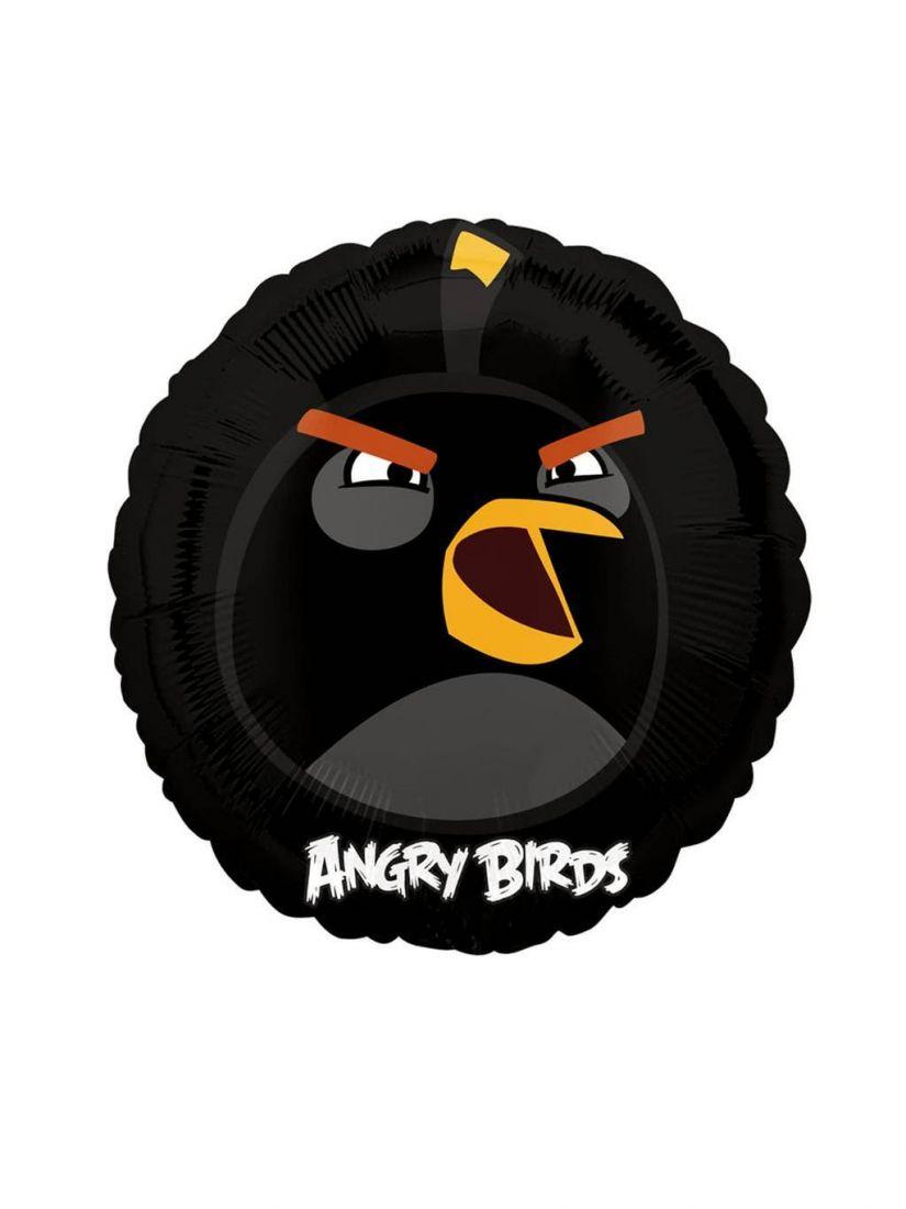 Черная птица круглый шар фольгированный с гелием