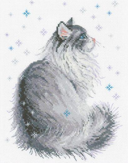 Набор для вышивания крестом Снежный Мяу №1912 фирма Риолис