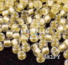 Бисер чешский 382PY светло-желтый прозрачный жемчужная линия внутри Preciosa 1 сорт