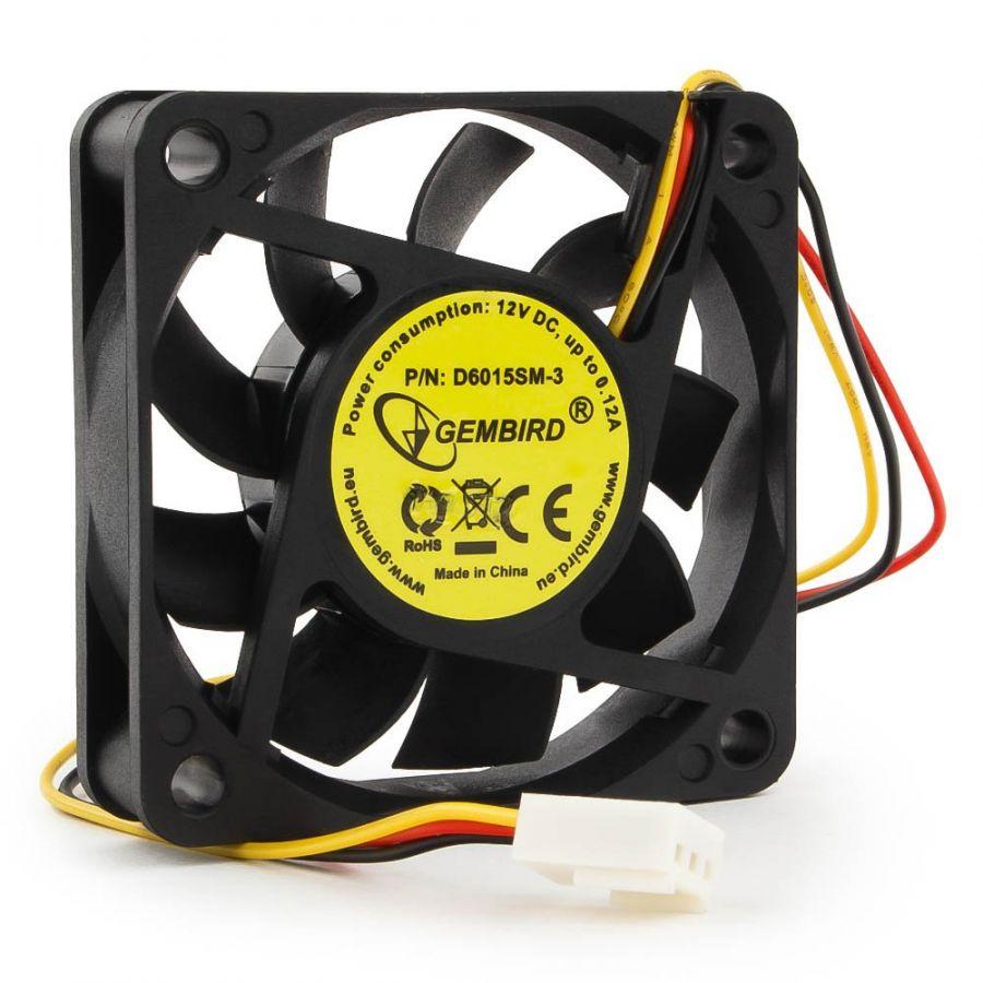 Вентилятор Gembird, 60x60x15, втулка, 3 pin, провод 25 см