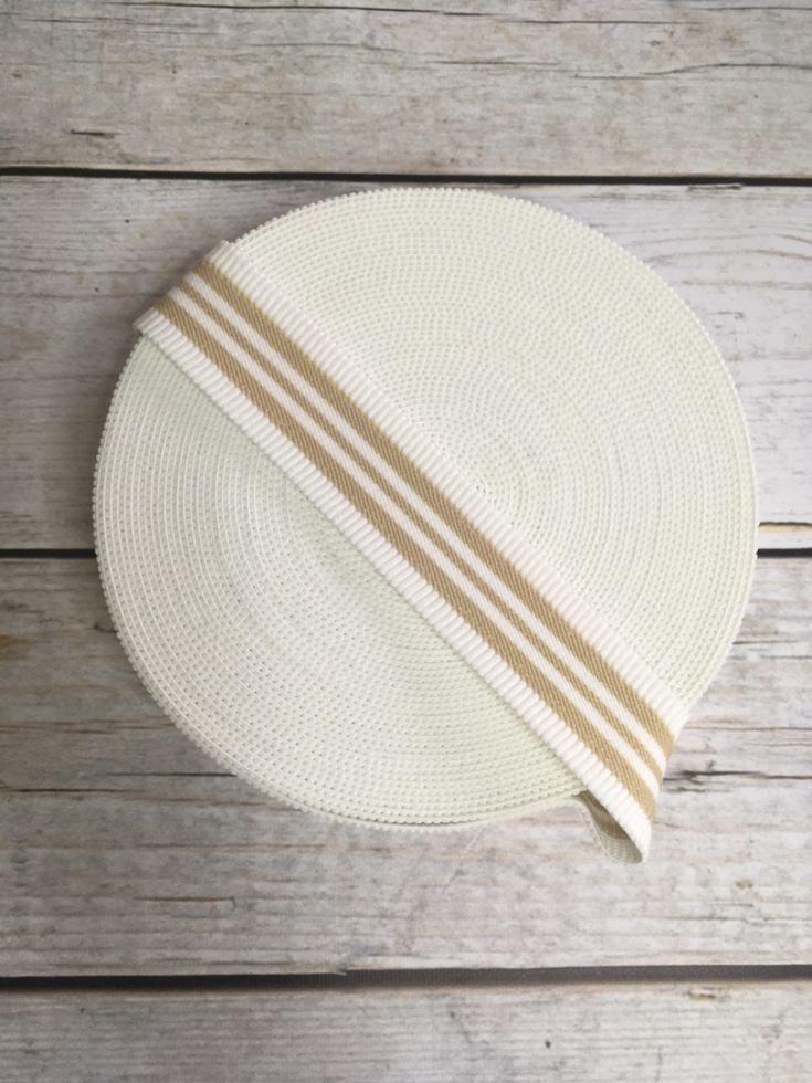 резинка в рубчик бело-бежевая 40мм