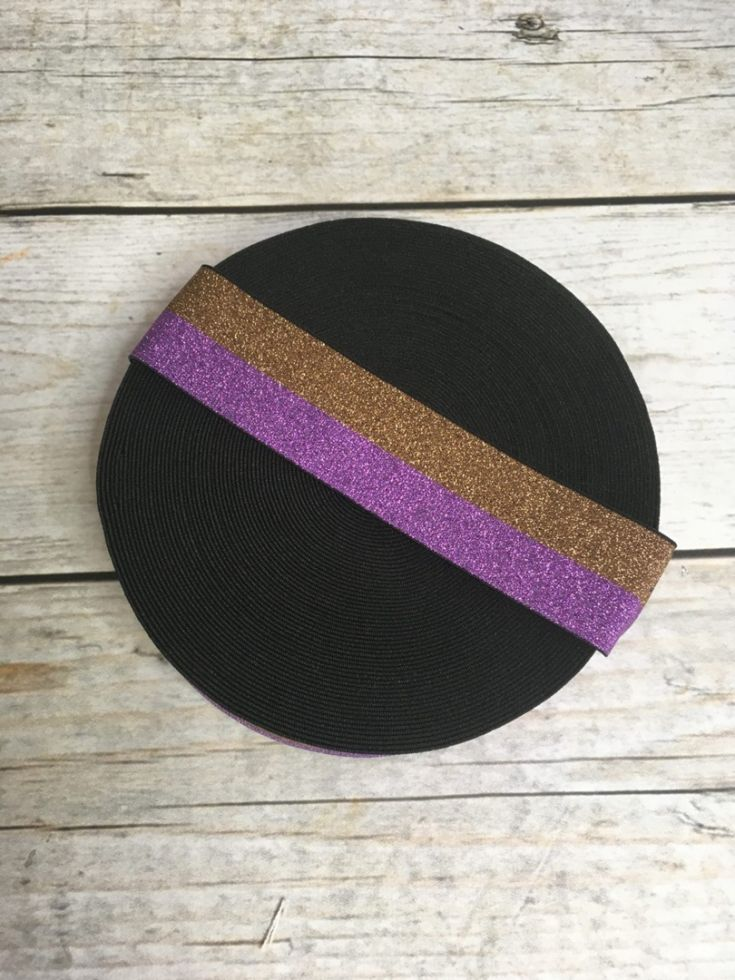резинка лила-кофе глитер 40мм