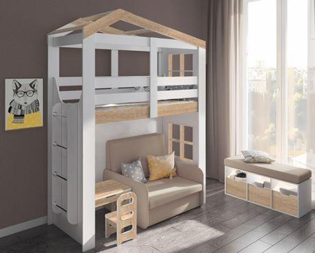Двухъярусный домик Сказка с диваном и столиком