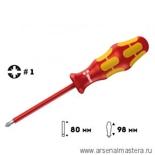 Отвертка диэлектрическая Pozidriv/шлиц WERA Kraftform Plus 165 i PZ/S VDE, 1 / 80 мм