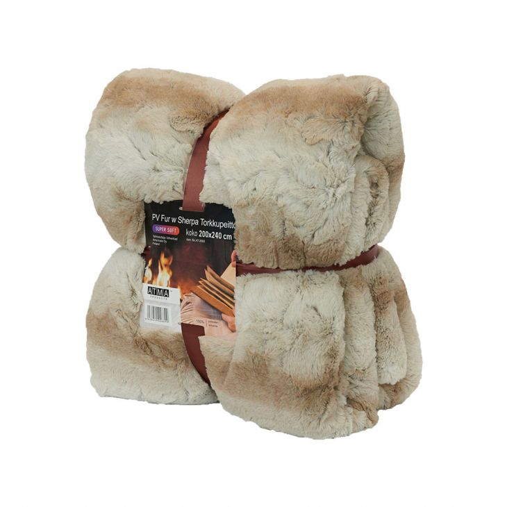 Плед SHERPA Blanket 200*240 см brown/white