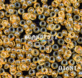 Бисер чешский 01681 светло-янтарный прозрачный блестящий Preciosa 1 сорт