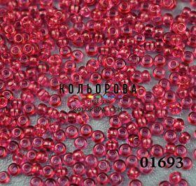 Бисер чешский 01693 тёмно-розовый прозрачный блестящий Preciosa 1 сорт