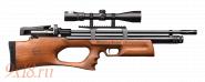 МОДИФИЦИРОВАННАЯ Винтовка пневматическая буллпап (bullpup) PCP KRAL Puncher Breaker - Крал Панчер Брейкер калибр 6.35 мм, ореховое ложе