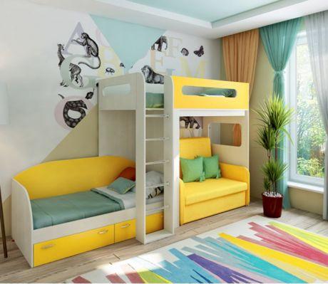 Кровать-чердак 24 + низкая кровать 13/52 Фанки Кидз + раскладной диван Бланес 2