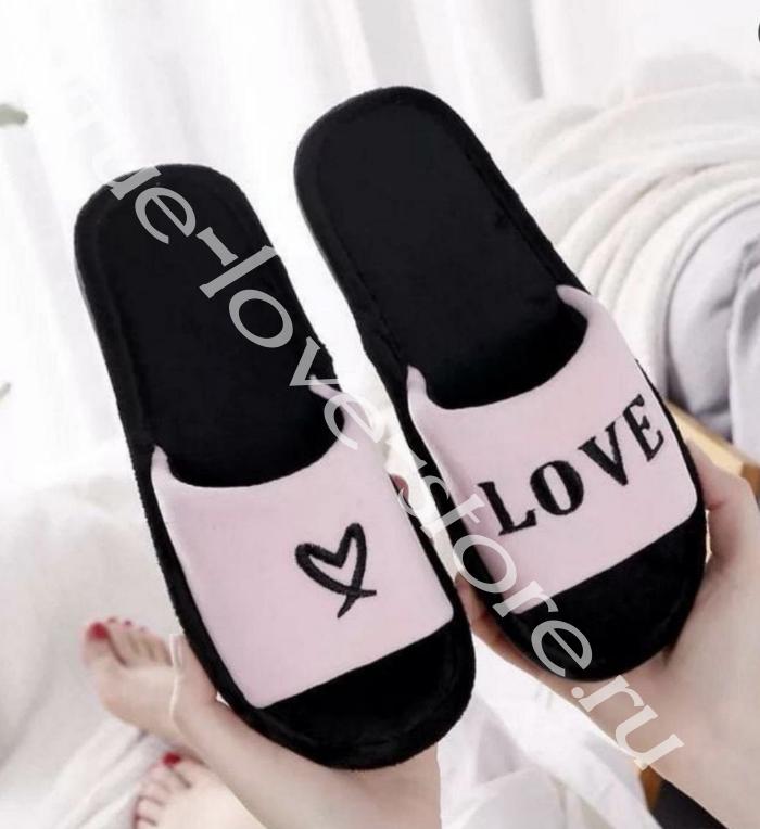 """Т 0261 - Цена за 6 шт. Тапочки """"Love"""""""