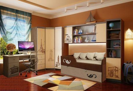 Двухъярусная кровать диван Латте арт. 30005 + мебель серии Фанки Тревел