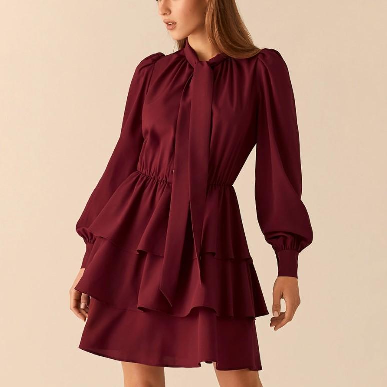 Платье с воланами полиэстер