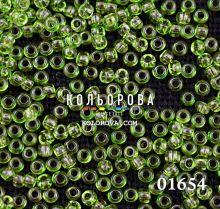 Бисер чешский 01654 зеленый прозрачный блестящий Preciosa 1 сорт